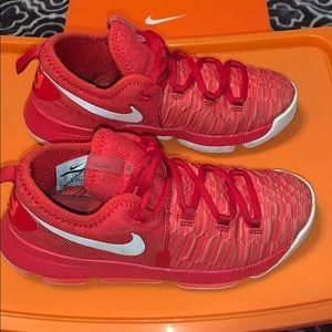 Nike Kids KD 9 Red/White Sneakers #855909 611 SZ 2